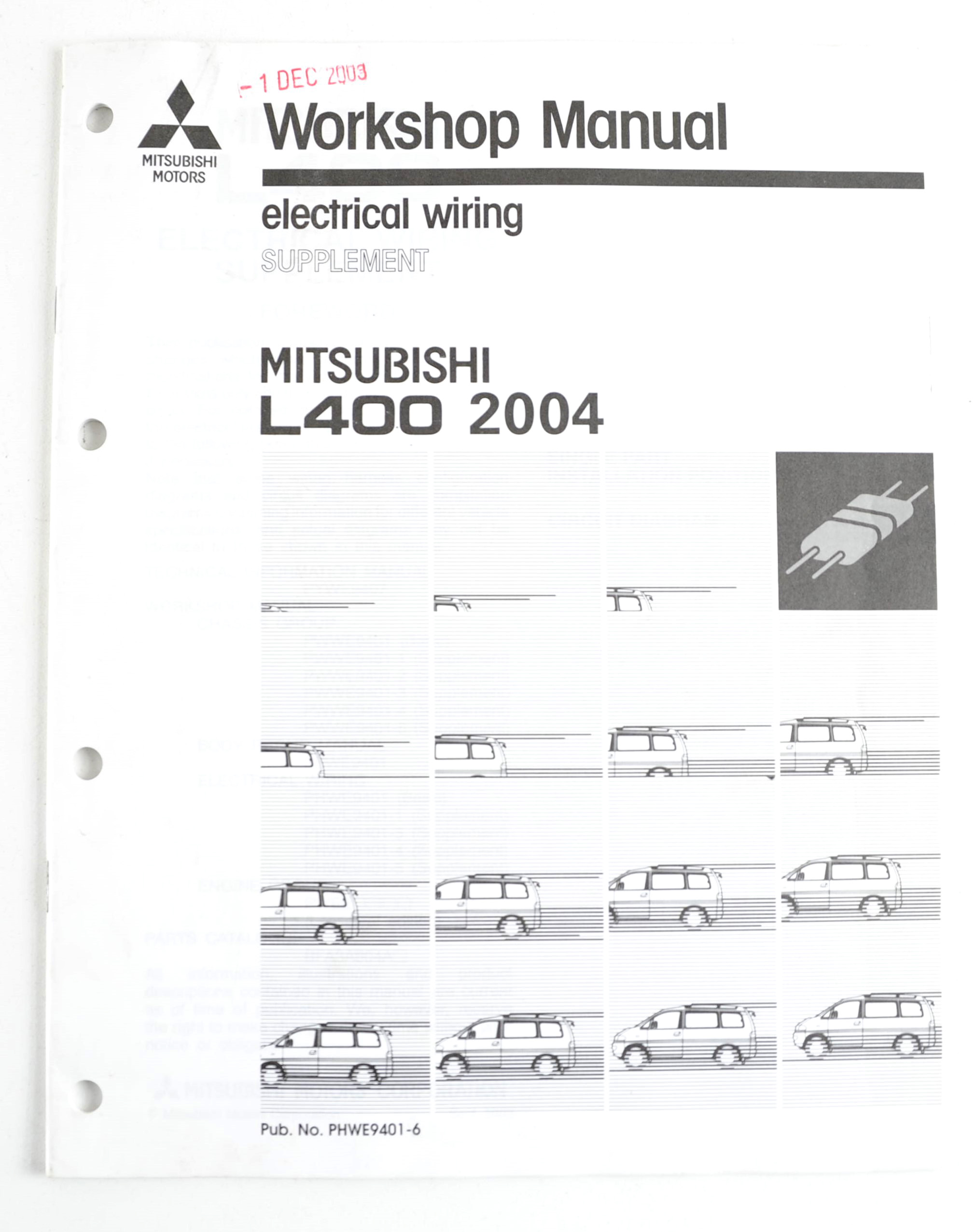 Part No: PHWE9401-6. $ 44. Buy / Read More. Mitsubishi L400 1997 factory workshop  manual ...